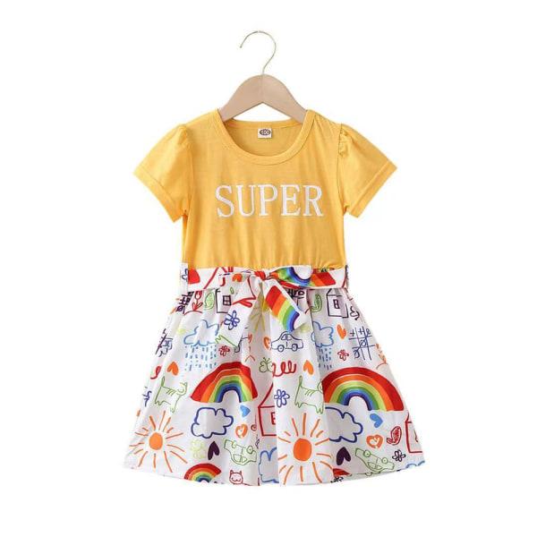 Flickor sommar västerländsk stil prinsessa klänning regnbåge kjol Yellow 4-5 Years