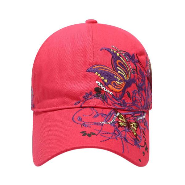 Mössor med blomma-smörjtryck / mönstrade mössor / fritidshattar Rose red