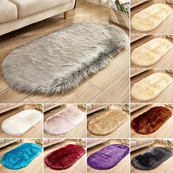 Fluffig matta för hemmamatta för konstmjuk pälsmjuk matta Wine Red