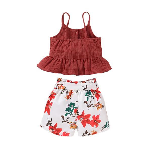 Flickans växtavtryck - ärmlös tvådelad kostym (topp + shorts) - Ruffle Tank + Floral Shorts Set 2-3 Years