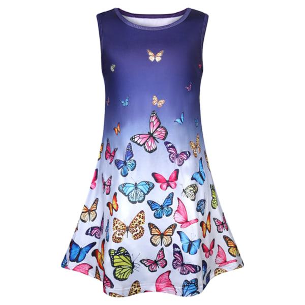 Girls Butterfly Print A-line Dress Princess Birthday Dress Blue 5-6 Years