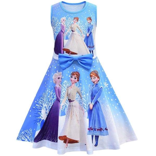 klänning _ Tjejklänningar Frozen princess dress födelsedagsfest Blue 3-4 Years