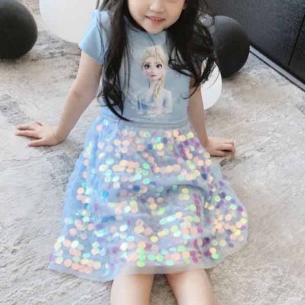 Flickakjolar - Frysta klänningar - sommar sequined klänning casual Blue 110cm