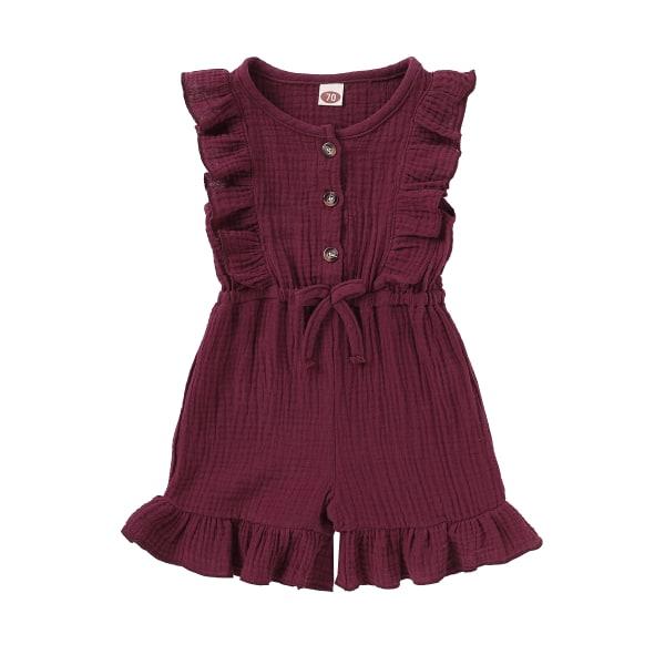 Flickors ärmlösa shorts i ett stycke rufsad enfärgad jumpsuit Wine Red 6-12 Months