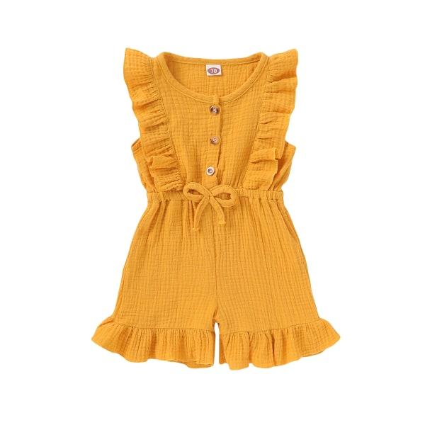 Flickors ärmlösa shorts i ett stycke rufsad enfärgad jumpsuit Yellow 3-4 Years