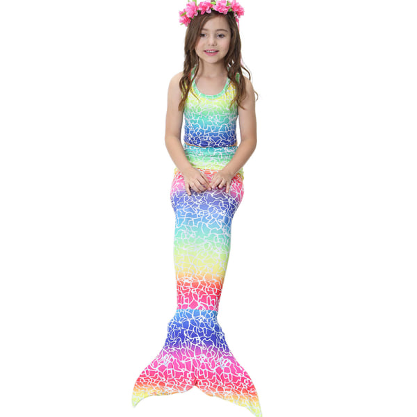 Flickor sommar mode bikini tryck sjöjungfru tredelad baddräkt multicolor 120cm