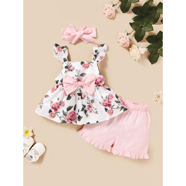 klänning - Kid Flower Ruffled Ärmlös Princess Top + Shorts Pink 12-18 Months