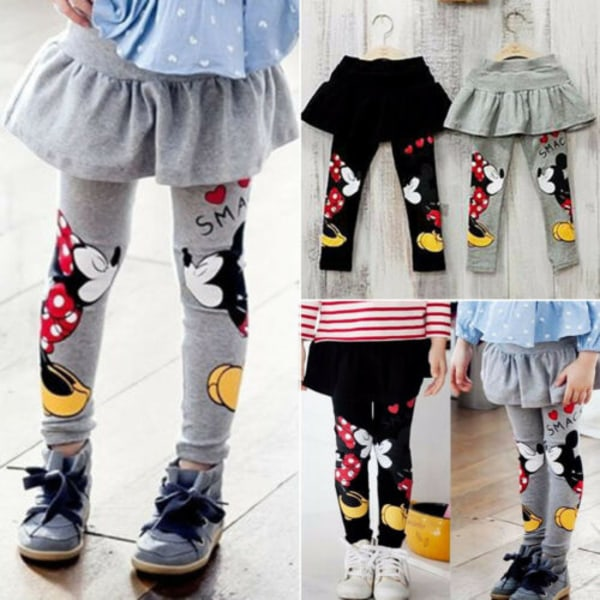 Barnflicka Mickey Minnie Mickey Mouse byxor _ tutukjol _ Barnf gray 2-3 Years