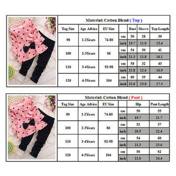 Barn långärmad bowknot t-shirt klänning randig + byxor set Pink 100