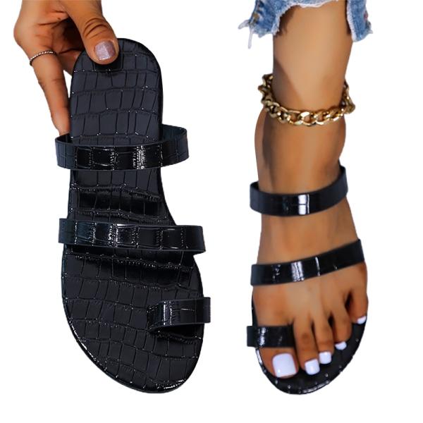 Kvinnas sommar en-rad glänsande flip-flops semester sandaler Black 43
