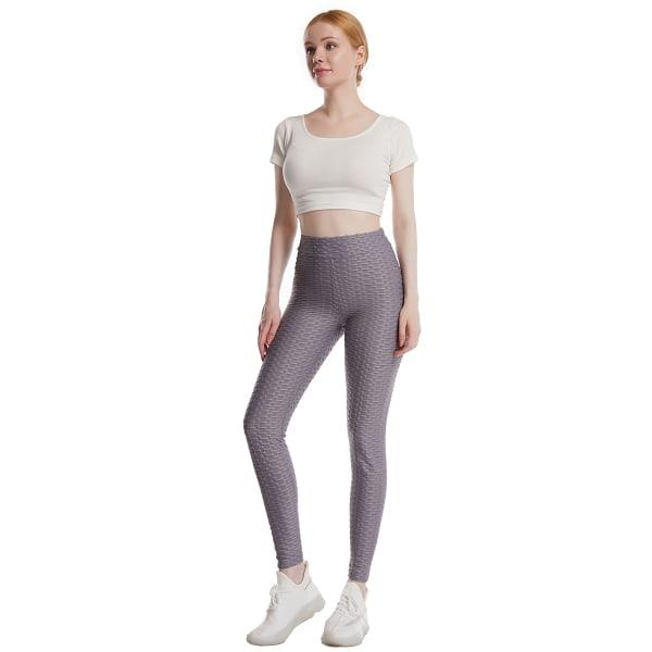 Kvinnor avslappnade byxor super stretch mager joggebyxa yoga byxor Grey 2XL
