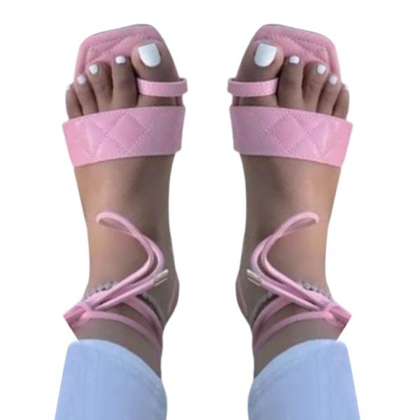 Kvinnor sommar set-toe remmar sandaler fritid semester trend Pink 41