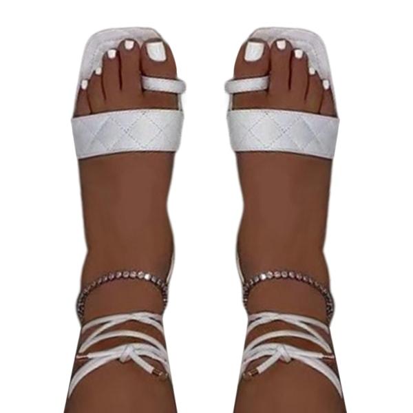 Kvinnor sommar set-toe remmar sandaler fritid semester trend White 39