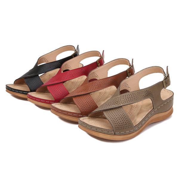Kvinnors sommar retro bohemiska sluttning med spänne sandaler casual Red 38