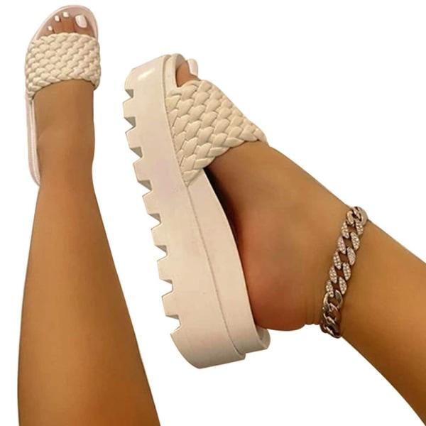 Damer vävda plattform tofflor sommar mode strandskor khaki 43