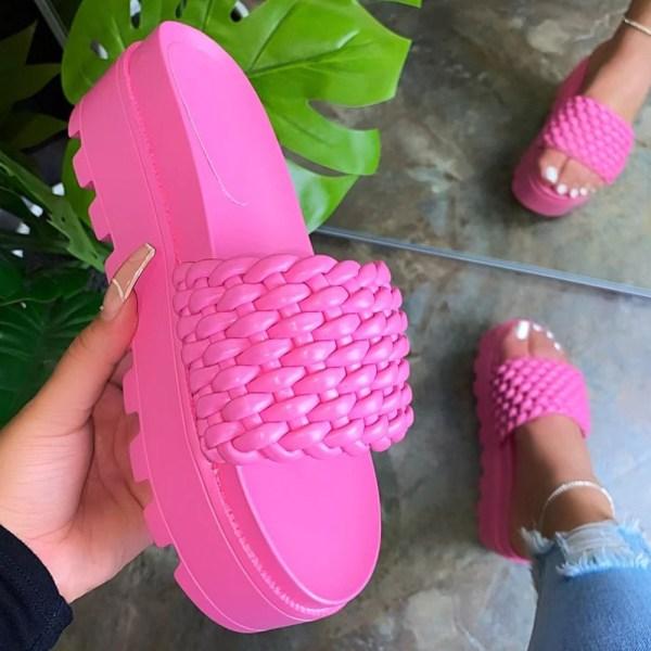 Damer vävda plattform tofflor sommar mode strandskor rose red 36