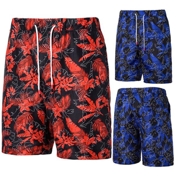 Mäns sommar löst mode tryck casual sportstrandvatten shorts Red XL