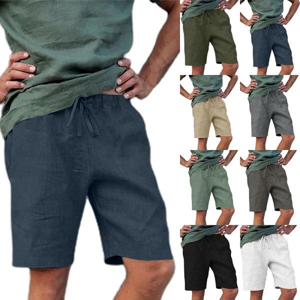 Bomulls- och linnemäns sportshorts med dragkedja för män light gray 5XL