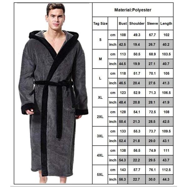 Badrock för herrklädsel med byxa för handduk, badrock av fleeceficka Blue S