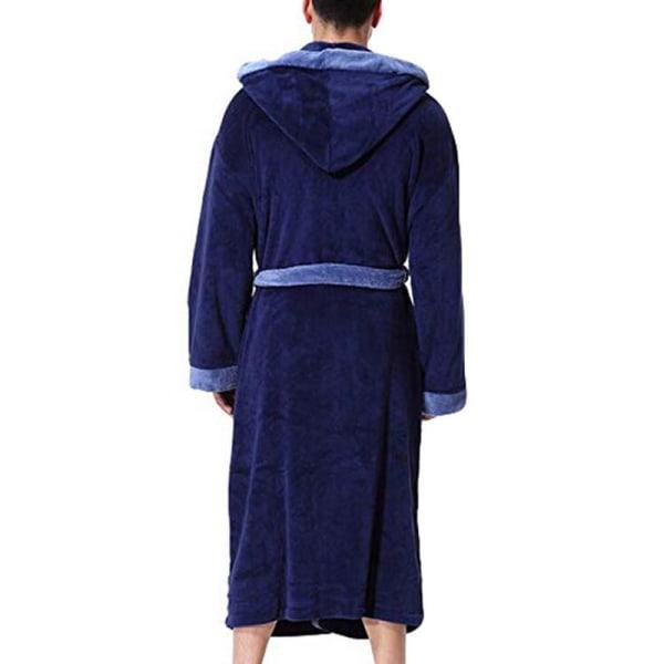 Badrock för herrklädsel med byxa för handduk, badrock av fleeceficka Blue M
