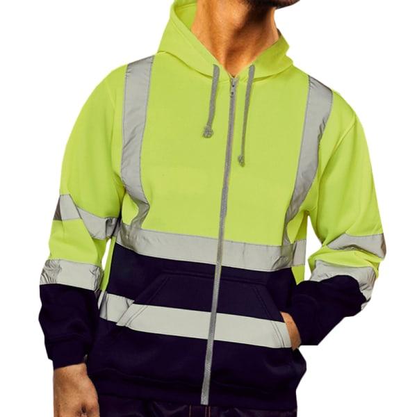 Herr reflekterande bältejacka kappa huvtröja med dragkedja green M