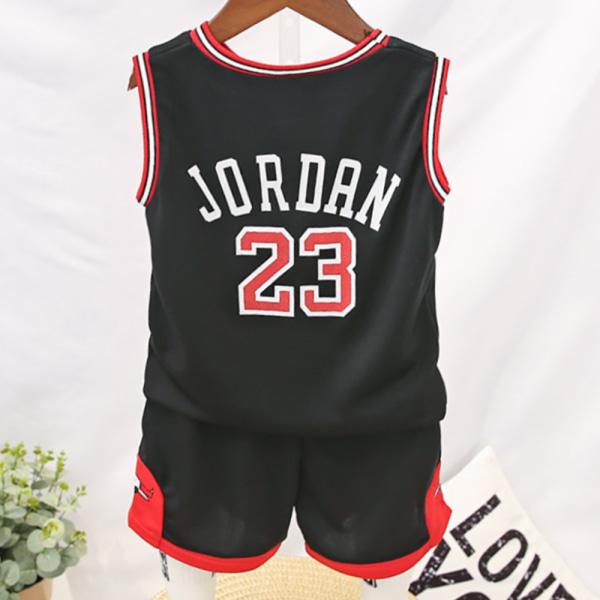 Barn pojke Sommar kortärmad basketkläder Kostym Fritid black 150cm