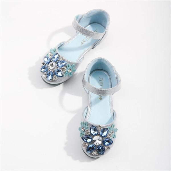 Princess Aisha tjejer sandaler mjuk sula klänning kristall skor Sliver 30