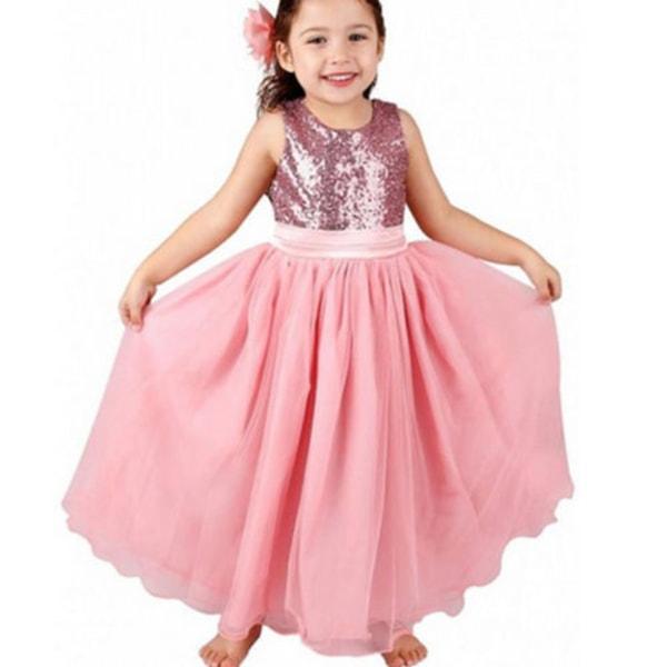 Paljetterade ballettflickor klär bröllopsklänningar Tutuklänningar pink 140cm