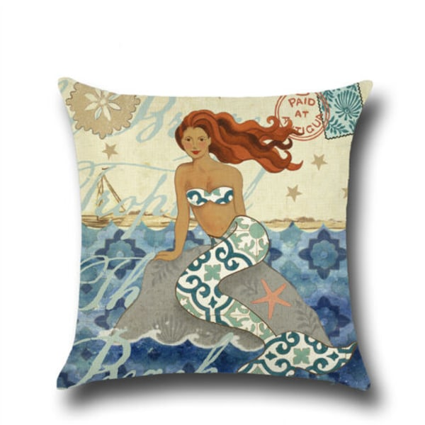 Snail Mermaid tryckt soffkudde _ Heminredning i sovrum _ Mermaid + Seahorse