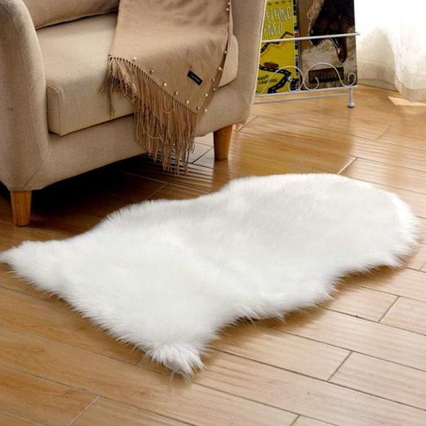 Mjuk, fluffig matta _ golv i sovrummet konstgjord pälsmatta _ Mjuk fl White 40*60cm