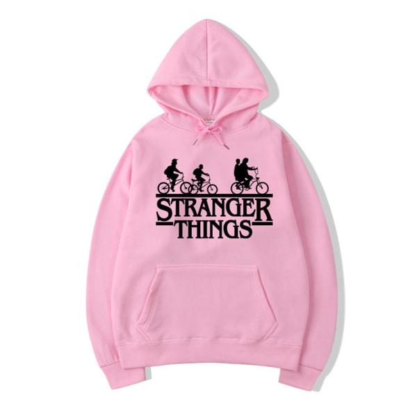 Stranger saker tidvatten märke med huva sweatshirt sport gym topp pink XL