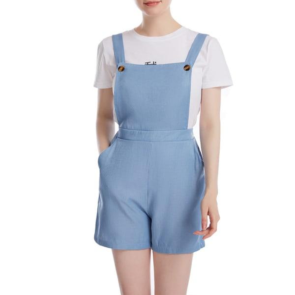 Sommar Kvinnors enfärgade rem Hela shorts Street Top Light blue 2XL