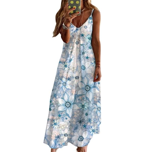 Kvinnors temperament retro V-ringad strandbyxa med klänning bule S