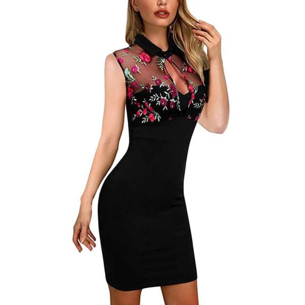 Kvinnors sexiga broderade paljettomslag höft ärmlös lång kjol rose red M