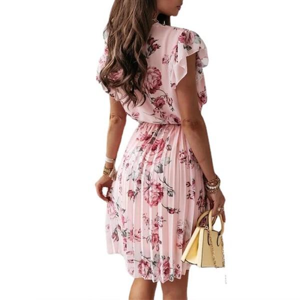Kvinnors sommar rufsad kortärmad V-ringad klänning med digitala tryck pink L