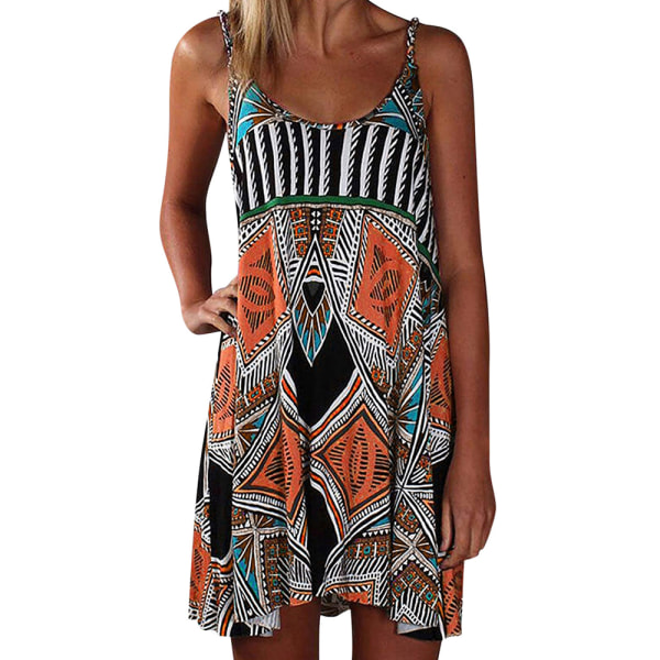 Kvinnors sommar temperament avslappnad byxkjol strandklänning orange XL