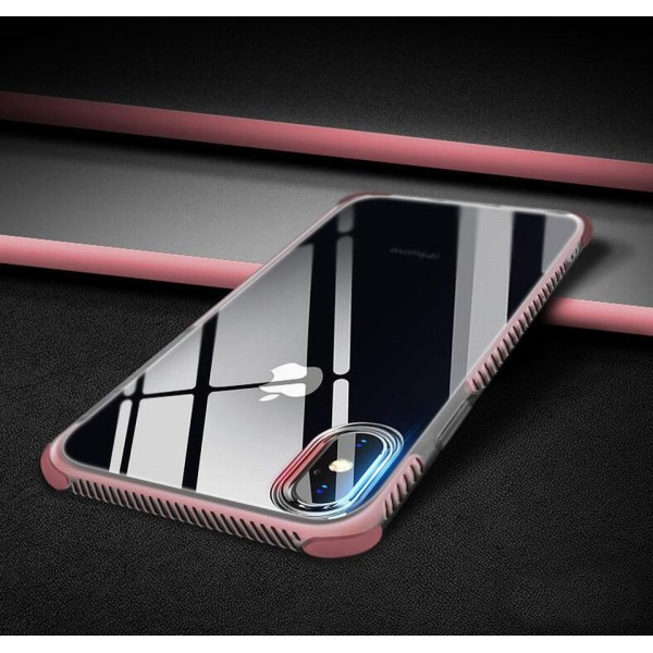 2 i 1 TPU Skal iPhone X +2skärmskydd  Rosa