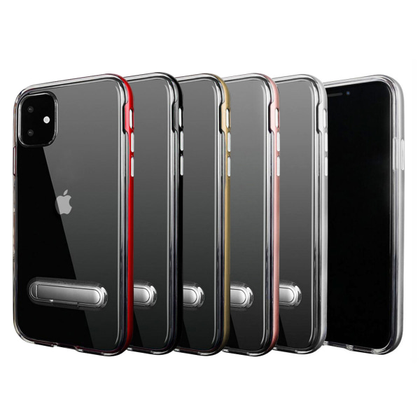 TPU -kotelo puhelintelineellä + kaksi näytönsuojaa iPhone 11 Black