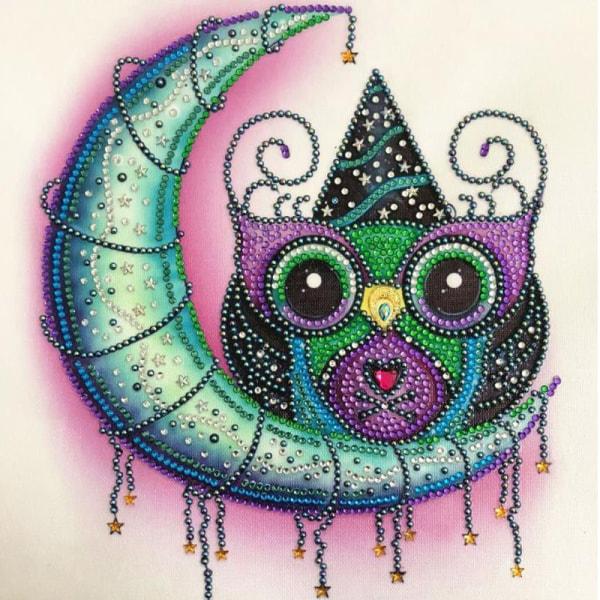 5D DIY Diamantmålning Ugglor Broderi Art Craft Kit Decor E