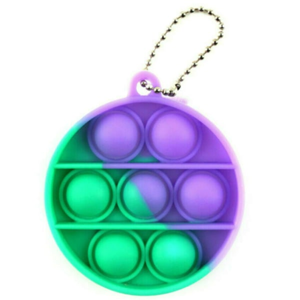 Baby Simple Dimple Sensory Pop It Fidget Toy Nyckelring Ny present Round - Purple&Green