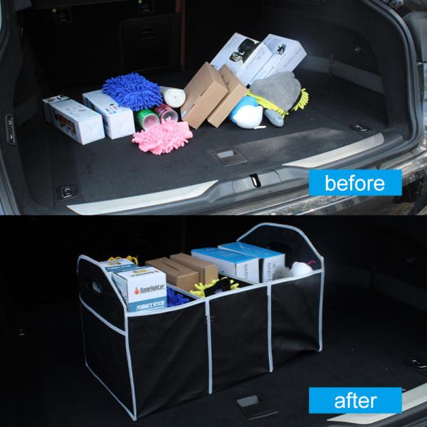 2-i-1 Bil Boot Organizer Hopfällbar Förvaring Väska Black