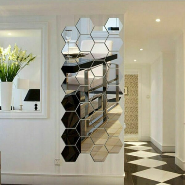 36ST 3D Spegel Kakel Mosaik Vägg Klistermärken Sovrum DIY Dekal 36st