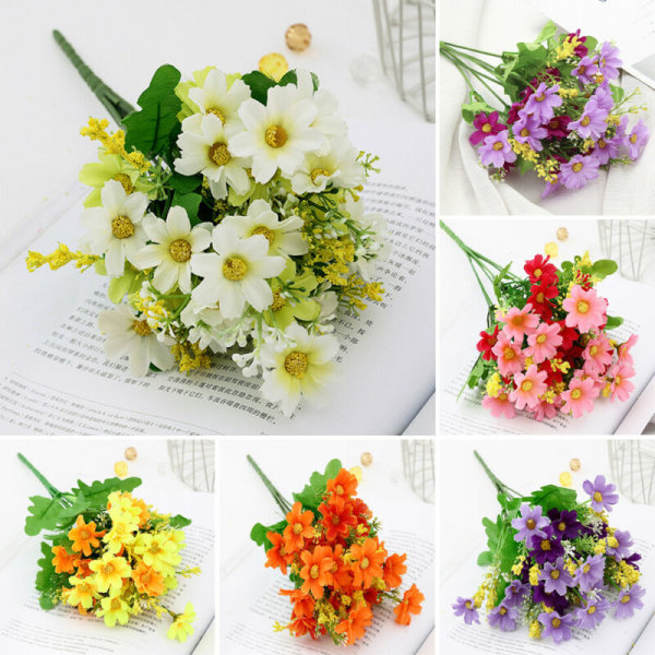 28Head Artificial Silk Flower Daisy Bunch Wedding Home Decor white&green 1pcs