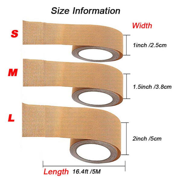 5 m / rulle Axelbandslös osynlig bh-lyftband Push Up Sticker Kit apricot L