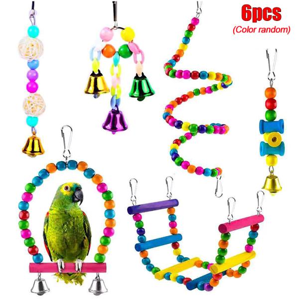 6 st / uppsättning Pack näbb Metallrep liten papegojabur fågelleksak 6pcs