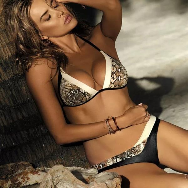 Kvinnors ormhud snörning vadderad bh G-sträng bikini set badkläder S