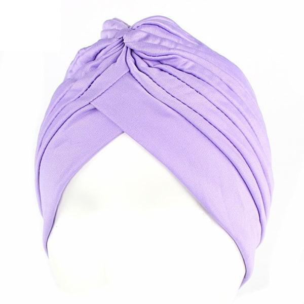 Kvinnors turbanhatt Hår Sommarkeps Huvudbonader Omslag Wrap Head Scarf light purple