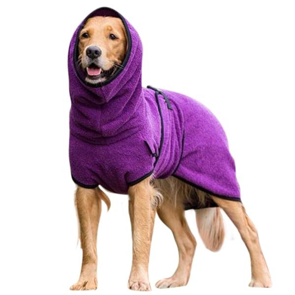 Pet Dog Puppy Warmer Costume Hooded Jacket Coat Kläder Purple S