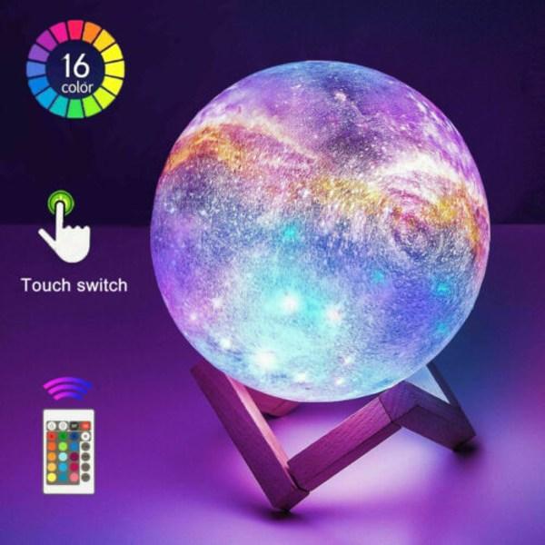USB Ladda LED 3D Moon Barn Nattlampa Galaxy Lampa 16 färger