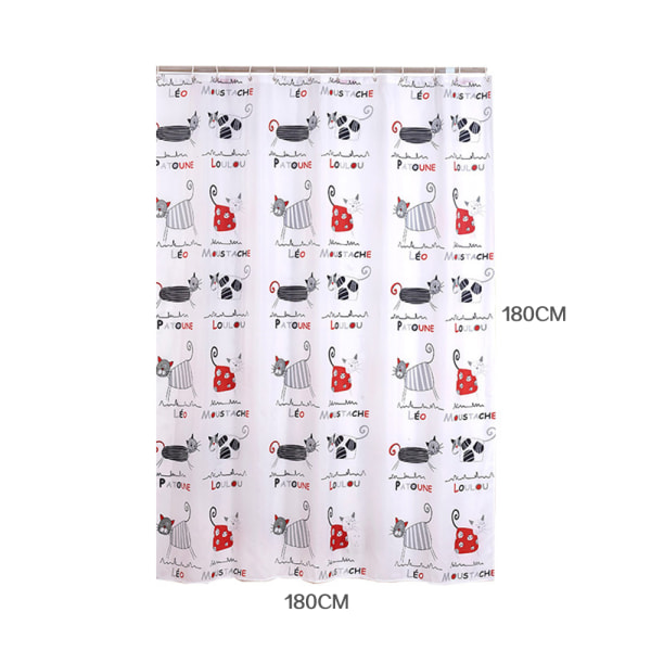 Kattutskrift Modern vattentät tvättbar duschdraperi 200*180CM